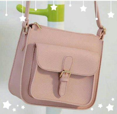 韓國直送皮革質感劍橋包(粉/黑) 斜背包 側背包 小方包~♥BuBu彩虹小舖♥