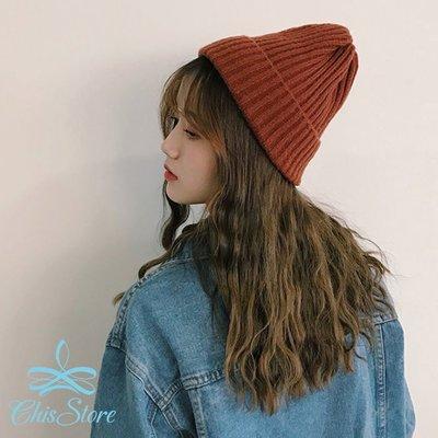 Chis Store~ 條紋針織帽~韓國 線條 直線 彩色 麻花編織 保暖帽子 毛線帽 毛帽 尖尖帽 百搭 男女情侶