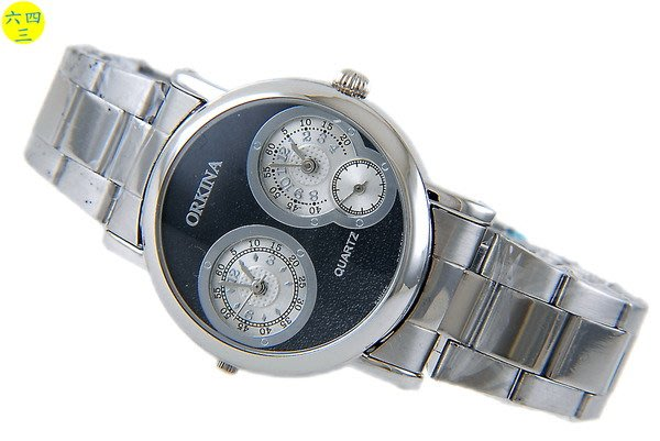 歐奇雅(真品)雙時區手錶.雙龍頭加雙時間.右邊小秒針...不銹鋼錶帶!