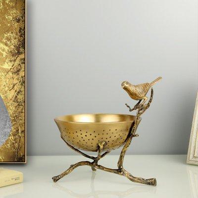 掛鐘 鬧鐘 墻壁鐘 裝飾鐘錶北歐客廳輕奢家用餐桌裝飾家居水果盤子現代擺件創意個性純銅果盤