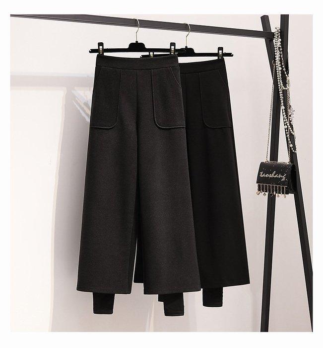 喬羽L-4XL中大尺碼顯瘦假二件高腰垂感加厚闊腿褲EP091201