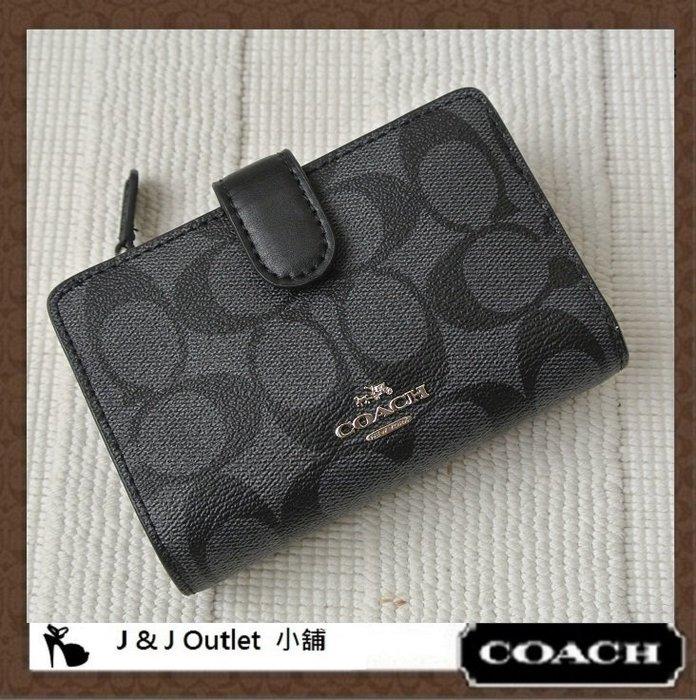 [JJ Outlet 小舖, 現貨在台]全新 Coach 23553 灰黑色 PVC + 皮革多功能中夾/皮夾(附購証)