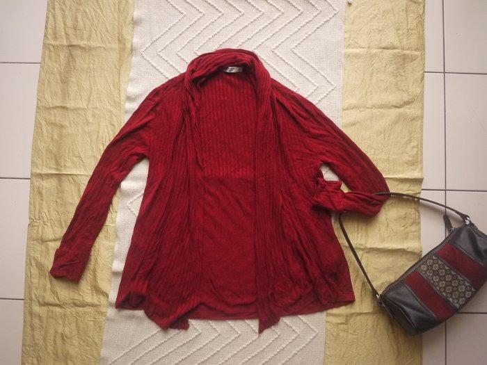 【二手精品好衣】Giordano 酒紅/深紅 針織 長袖外套 M 自然垂領 搭配顯瘦 罕穿 九成新 衣櫃爆滿清倉特賣價