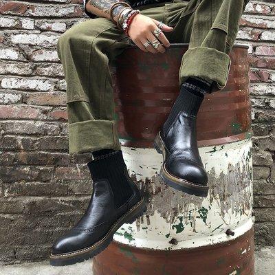 英倫風復古真皮高幫休閑黑色切爾西馬丁工裝短靴子男百搭潮秋冬季