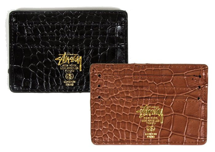 【 超搶手 】全新正品 2014 秋季 STUSSY CROC CARD WALLET 鱷魚壓紋 卡片夾 黑色 咖啡