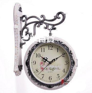 三季安納貝爾歐式雙面掛鐘客廳兩面鐘創意雙面掛表白色田園靜音時鐘表❖827