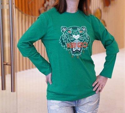 Kenzo Tiger cotton sweatshirt 虎頭長袖棉T 綠配橘