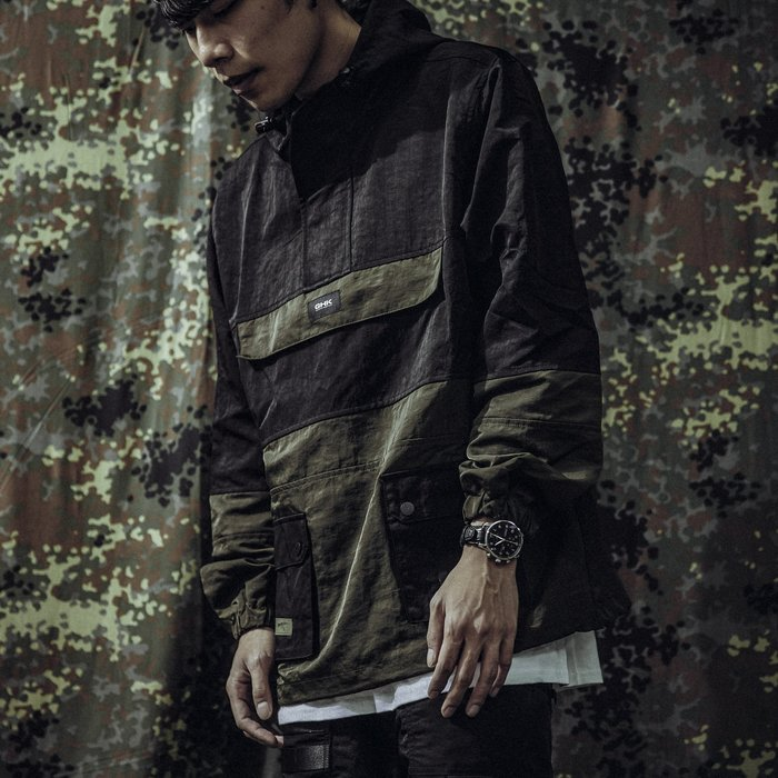 GHK Pullover Jacket G13 - Abstract 衝鋒衣 軍綠/黑