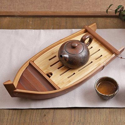 一葉扁舟儲水式竹茶盤排水茶海竹筏箱式乾泡檯托盤  *  .