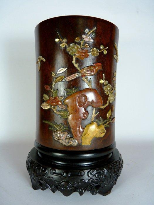 花見小路180 極稀品 珍品 紫檀八寶嵌芝山滿工博古圓筆筒(不含座)  寬: 11公分 高:13.8公分