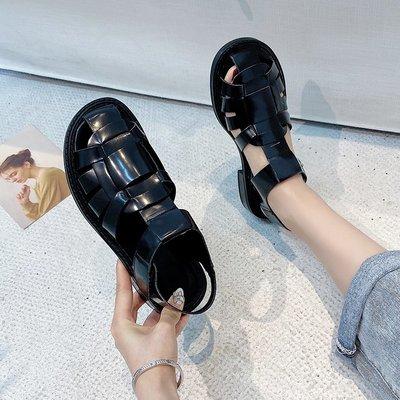 娃娃鞋牛津鞋休閒鞋 涼鞋女羅馬復古編織包頭黑色平底2020新款夏季學生百搭簡單款涼鞋
