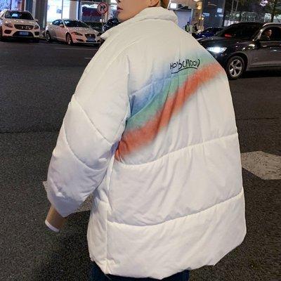 Kudi正韓男裝新款棉服男2021年冬季情侶款寬松學生加厚面包服香港ins棉衣外套爆款