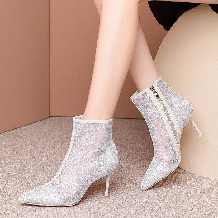 真皮 高跟涼鞋女2020新款春夏季女鞋亮片細跟涼靴真皮網紗尖頭瘦瘦靴子 HKA 051