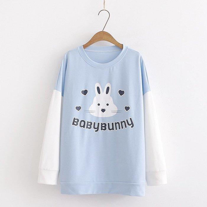 ☆紫米粒小舖☆【R55343】圓領 日系森女系可愛兔子愛心拼色長袖上衣。(預購)