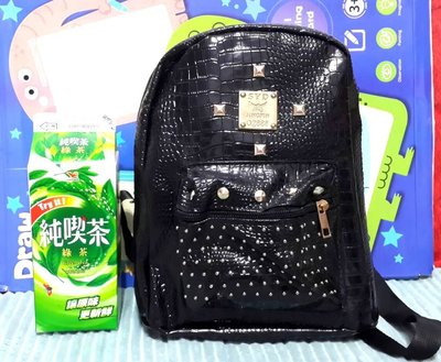 Punk Style Black Backpack Strap Rivet Stitched Backpack