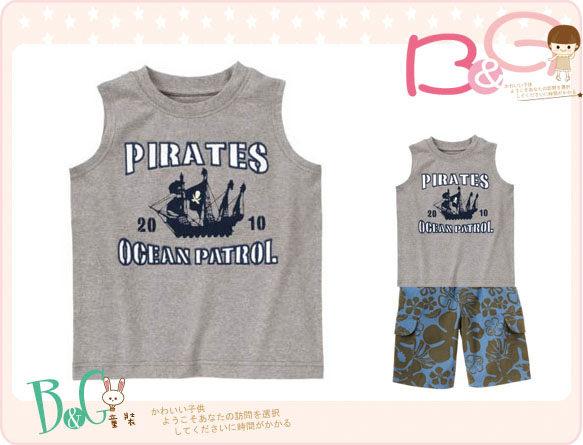 【B& G童裝】正品美國進口GYMBOREE海盜船圖樣灰色背心上衣8yrs