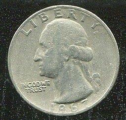 United States(美國25分硬幣),25-CENT,1967 ,品相普F