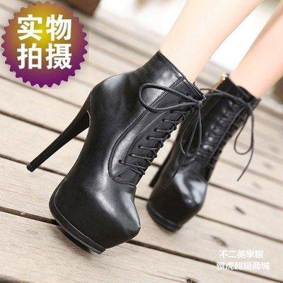 【格倫雅】歐美經典顯瘦系帶14cm超高細跟6cm防水臺女短靴 騎士靴58080[g-l-y3