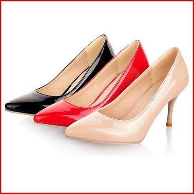 跟鞋*鞋館Shoes hall*【A12931】韓風極簡素面皮革尖頭高跟包鞋~3色~