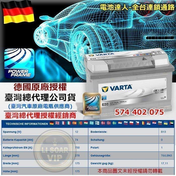 電池達人 華達 VARTA 銀色動力 電瓶 E38 PASSAT FOCUS Mondeo TDCI 汽柴油休旅車 電池