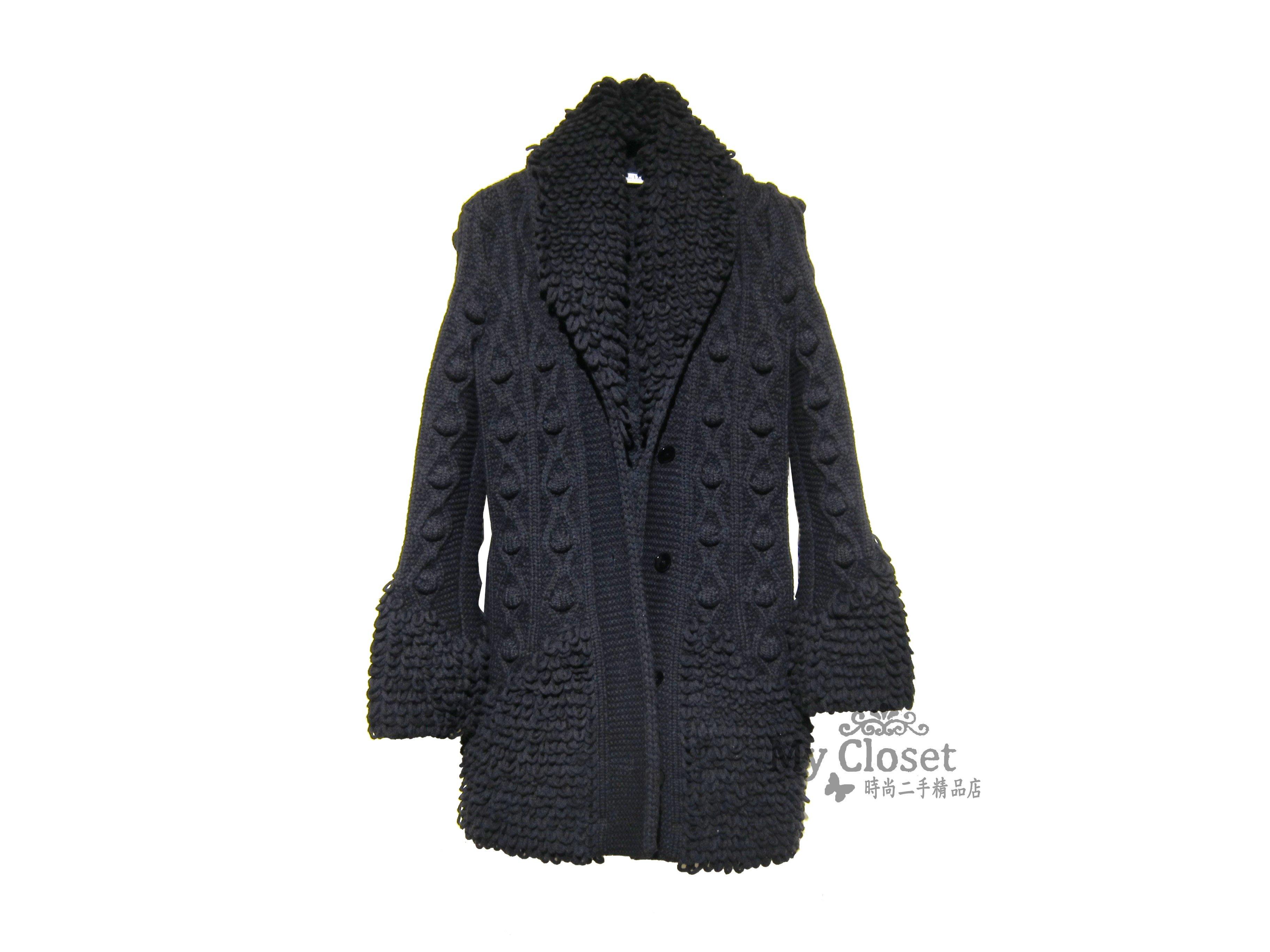 My Closet 二手名牌 Christian Dior 2017秋冬 黑色造型立體針織 厚織長外套