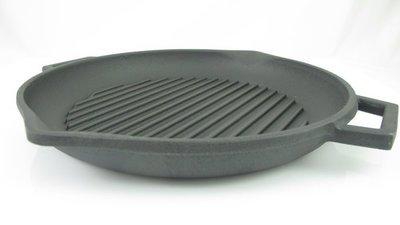 【綠心坊】土耳其 LAVA 岩燒鑄鐵圓烤盤30cm 適用電磁爐