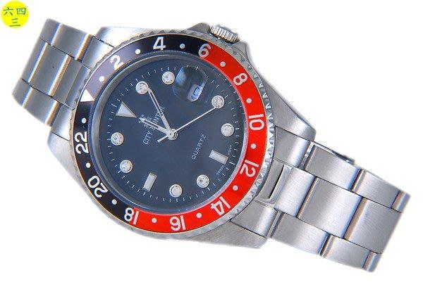 @(六四三鐘錶精品店)@CITY (真品)大錶徑.全不銹鋼錶殼及錶帶.紅黑外框!