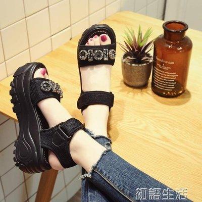 現貨/涼鞋女士夏新款百搭松糕鞋厚底涼鞋高跟鞋增高搖搖鞋水鉆/海淘吧F56LO 促銷價