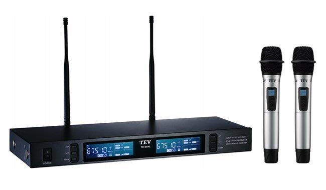 【昌明視聽】TEV 台灣電音 TR-9100 數位UHF真分集接收100頻道無線麥克風系統 鋁合金金屬MIC握把 可議價