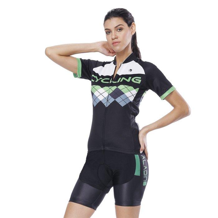 【Paladin】女款短袖車衣褲套裝 :: 綠格