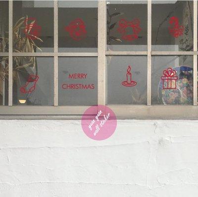【源遠】可愛耶誕應景LOGO【Fe-10】壁貼 耶誕老公公 麋鹿 禮物 下雪 冬天Merry Christmas