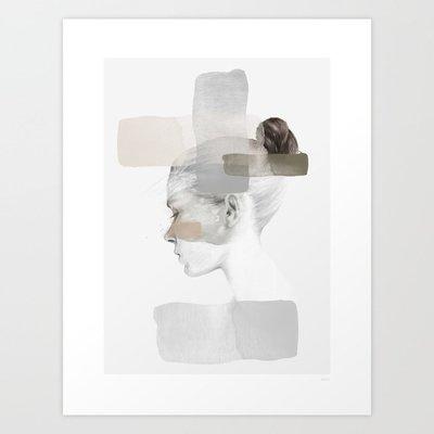 莉迪卡娜~Anna Bulow 粉灰色調女孩水彩 Society6 美國進口原版旁白裝飾畫