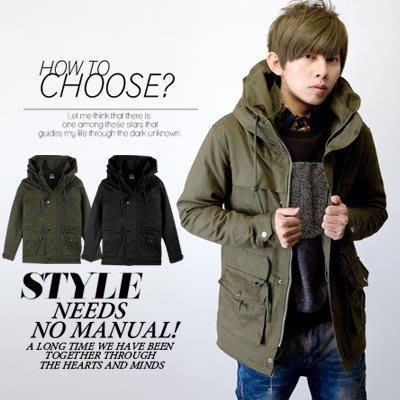柒零年代【N9045J】保暖厚實四抽繩挺版鋪棉大高領大衣外套(SH9172)Deep