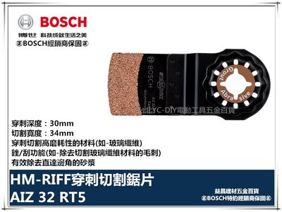 【台北益昌】德國 BOSCH 魔切機配件 AIZ 32 RT5 HM-RIFF穿刺切割鋸片 銼/刮功能 除直達邊角的砂漿