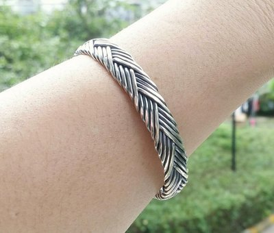 嗨,寶貝銀飾珠寶* 925純銀☆復古 時尚 工藝 編織 開口純銀手環 手鐲