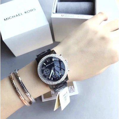 MICHAEL KORS手錶 MK5190三眼陶瓷鑲鑽不銹鋼錶帶腕錶/女錶/現貨