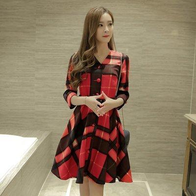 =EZZ=韓國首爾 時尚精品 東大門同步 茵蔓3185 春裝新款韓版格子V領長袖連衣裙