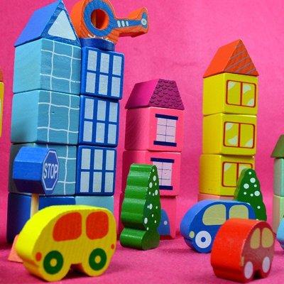 佳廷家庭 木製益智積木玩具禮物 39顆/PCS 現代城市大顆積木 水性漆 經濟部標準檢驗局檢驗合格