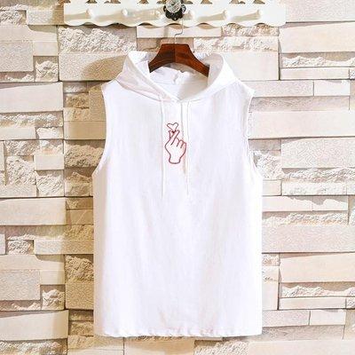 【大碼集站】新款夏裝日系手指刺繡大碼T恤男士連帽背心MJZ111