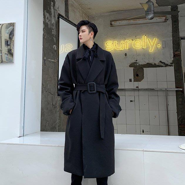 FINDSENSE 2019 秋冬上新 G19  暗黑先鋒個性外套氣質腰帶垂感長款風衣大衣男裝百搭寬鬆休閒外套