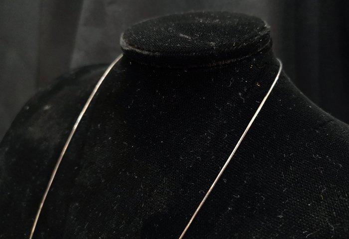 《博古珍藏》嚴選配件【925純銀練】正純度防氧化.翡翠和闐玉項鍊配飾.禮物禮服.24吋.寬0.07公分