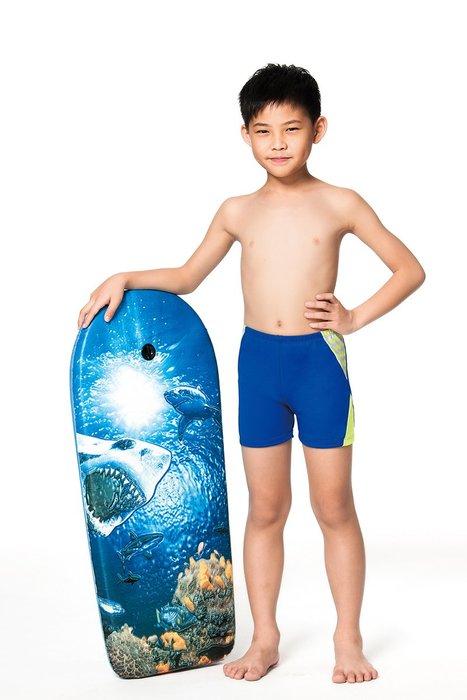 【  APPLE   】蘋果牌泳裝降價↘特賣~小男藍色雙邊黃色灰鋸齒四角泳褲(彈性較小) NO.106298