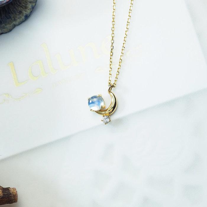 Lalune 仲夏夜之夢 斯里蘭卡藍彩月光 白鑽 正10K金 黃K色 極細鎖骨鍊 珠寶項鍊 鑽石 月光石 K金項鍊 頸鍊