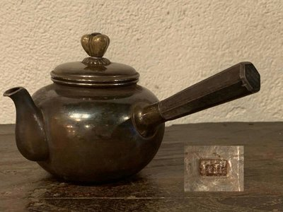 一把真正的日本側把老銀壺