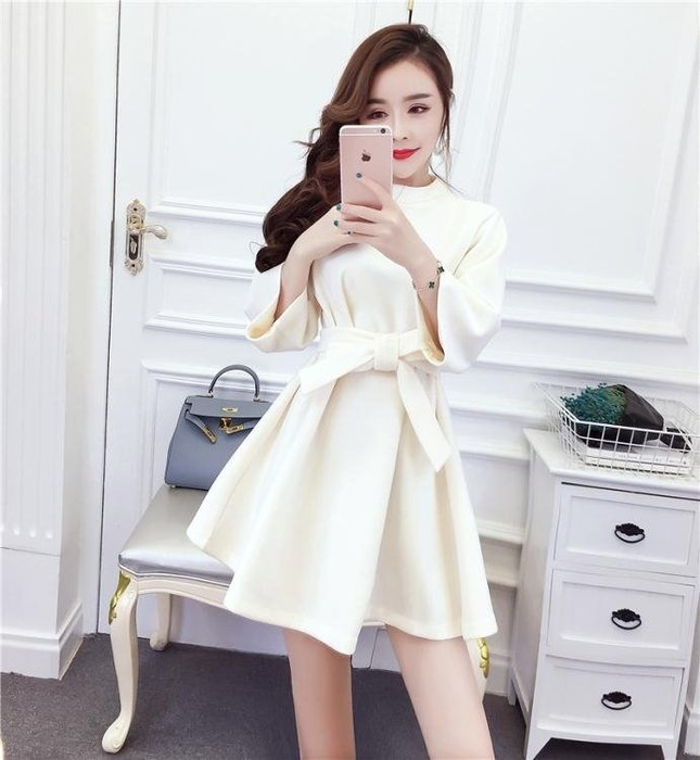 秋裝女新款韓版小香風七分袖綁帶收腰顯瘦裙短裙連身裙女Y-優思思