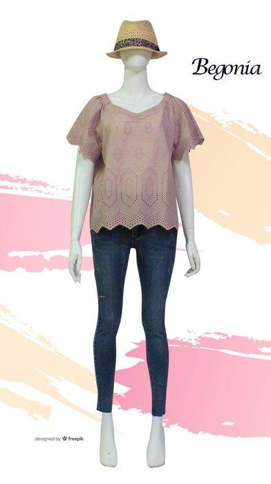 【 BEGONIA 】春夏品牌服飾新品特賣~簍空蕾絲多邊形小V字上衣 NO.BG01115
