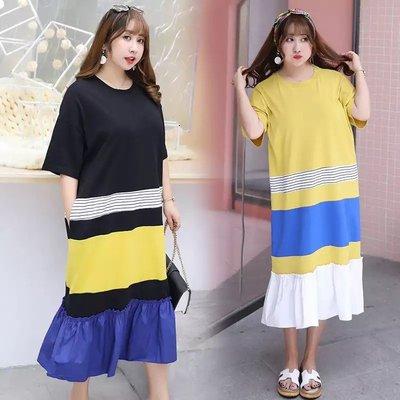 ✿plump girl 韓系✿中大尺碼女裝孕婦裝雪紡裙撞色短袖連衣裙3156