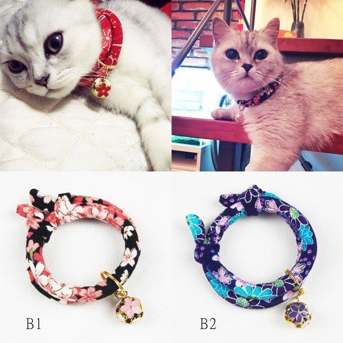 手工定制寵物和風招財貓項圈鈴鐺項圈貓狗項圈日本布-B系列:8色