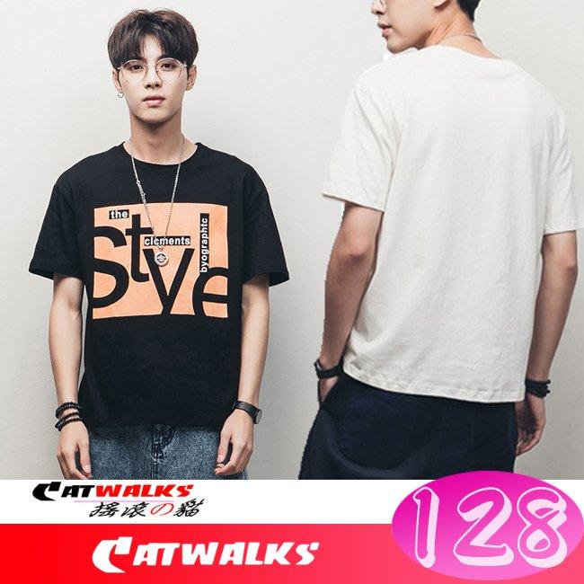 【 Catwalk's 搖滾の貓 】韓版潮流風寬鬆文字印花舒適短袖棉T ( 黑色、白色 )