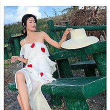 波希米亞E8657露肩沙灘裙長裙蛋糕連衣裙/大碼休閒寬鬆時尚顯瘦修身設計款防曬禪風連身裙民族風復古單正品日韓款外套